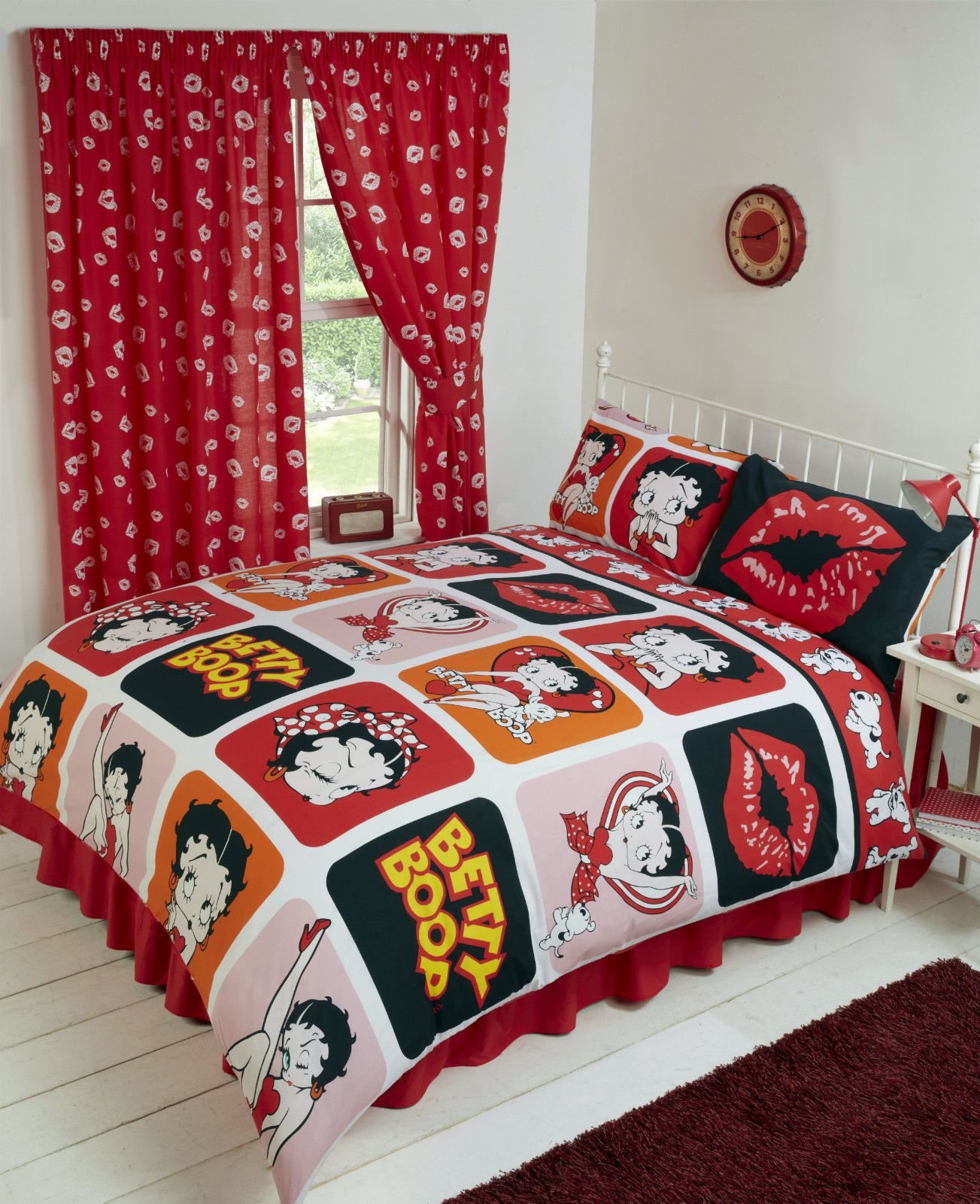 Genial Betty Boop Reversible Bedding Duvet Quilt Cover Set Polka Red Lips .