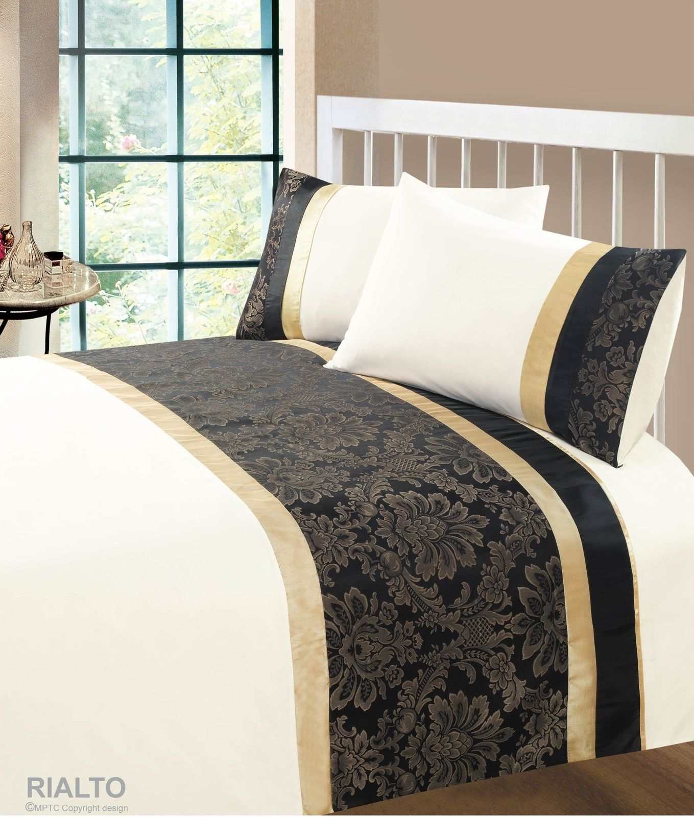 BLACK & GOLD COLOUR MODERN STYLISH DAMASK BEDDING QUALITY DUVET