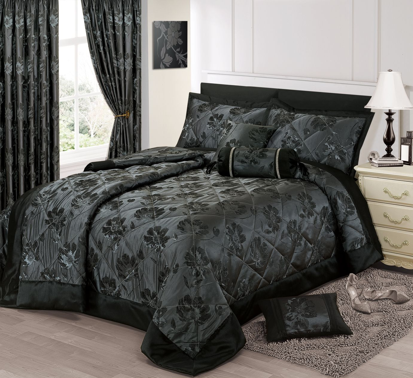 BLACK SILVER COLOUR STYLISH FLORAL JACQUARD LUXURY EMBELLISHED ... : silver quilted bedspread - Adamdwight.com