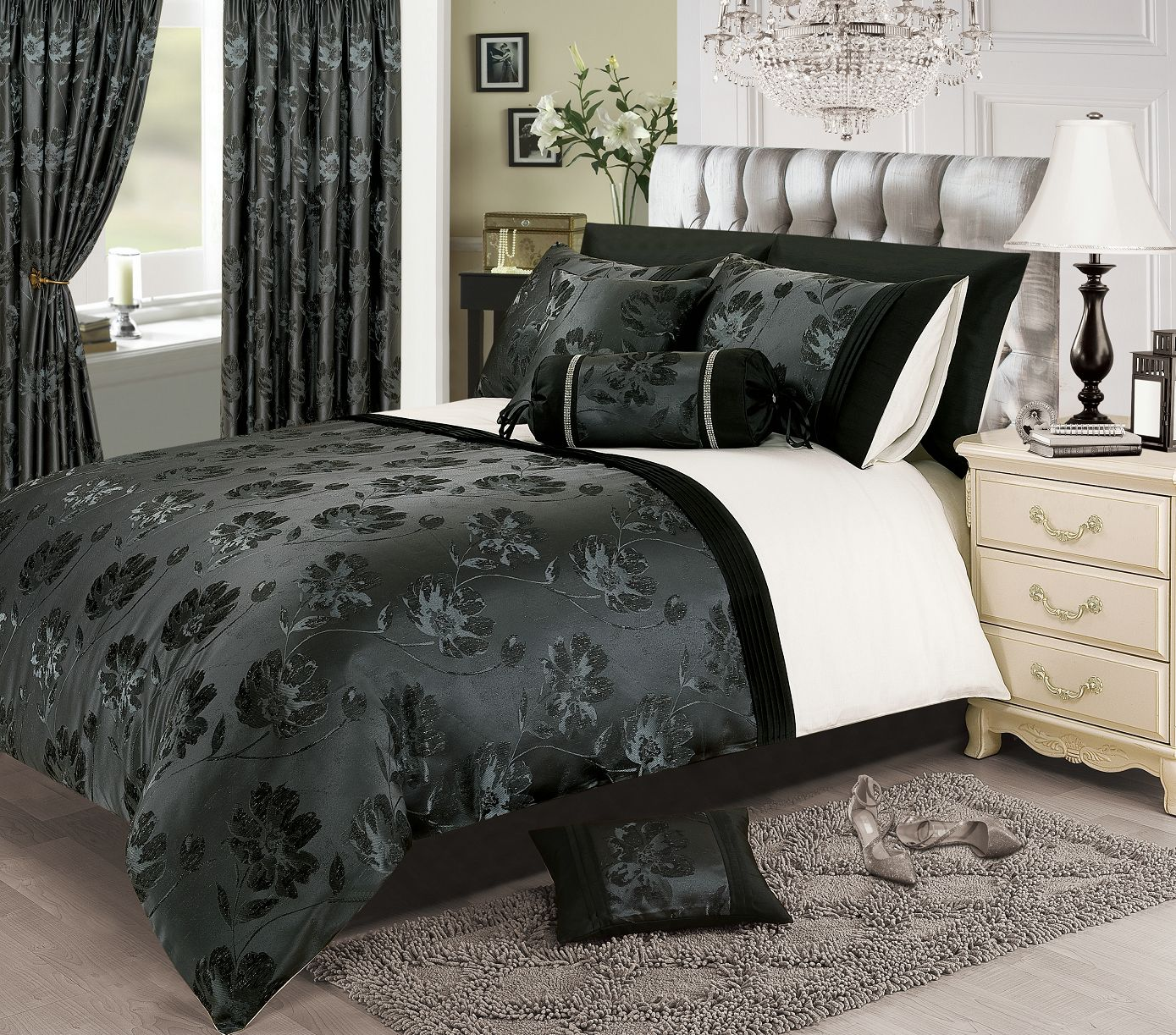 Black Silver White Colour Stylish Floral Jacquard Duvet