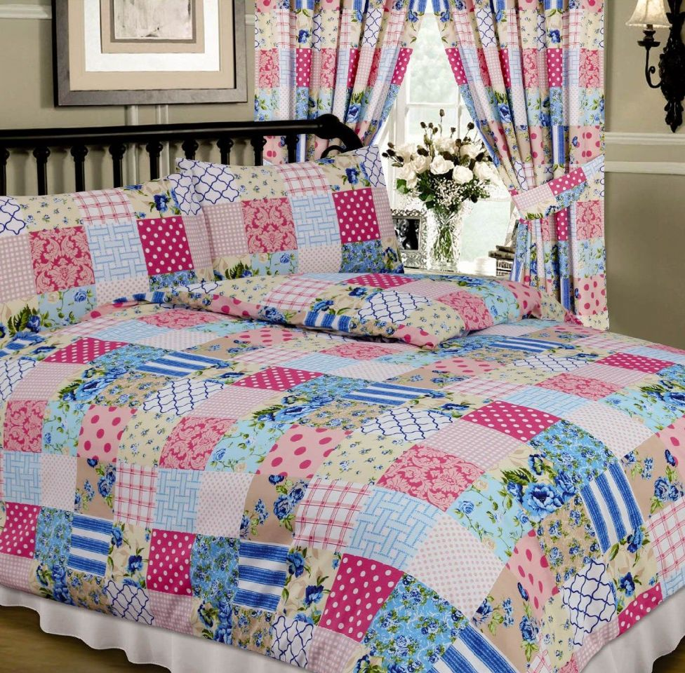 Bed sheet design patchwork - Blue Pink Colour Multi Patchwork Design Reversible Bedding Duvet Quilt Cover Set