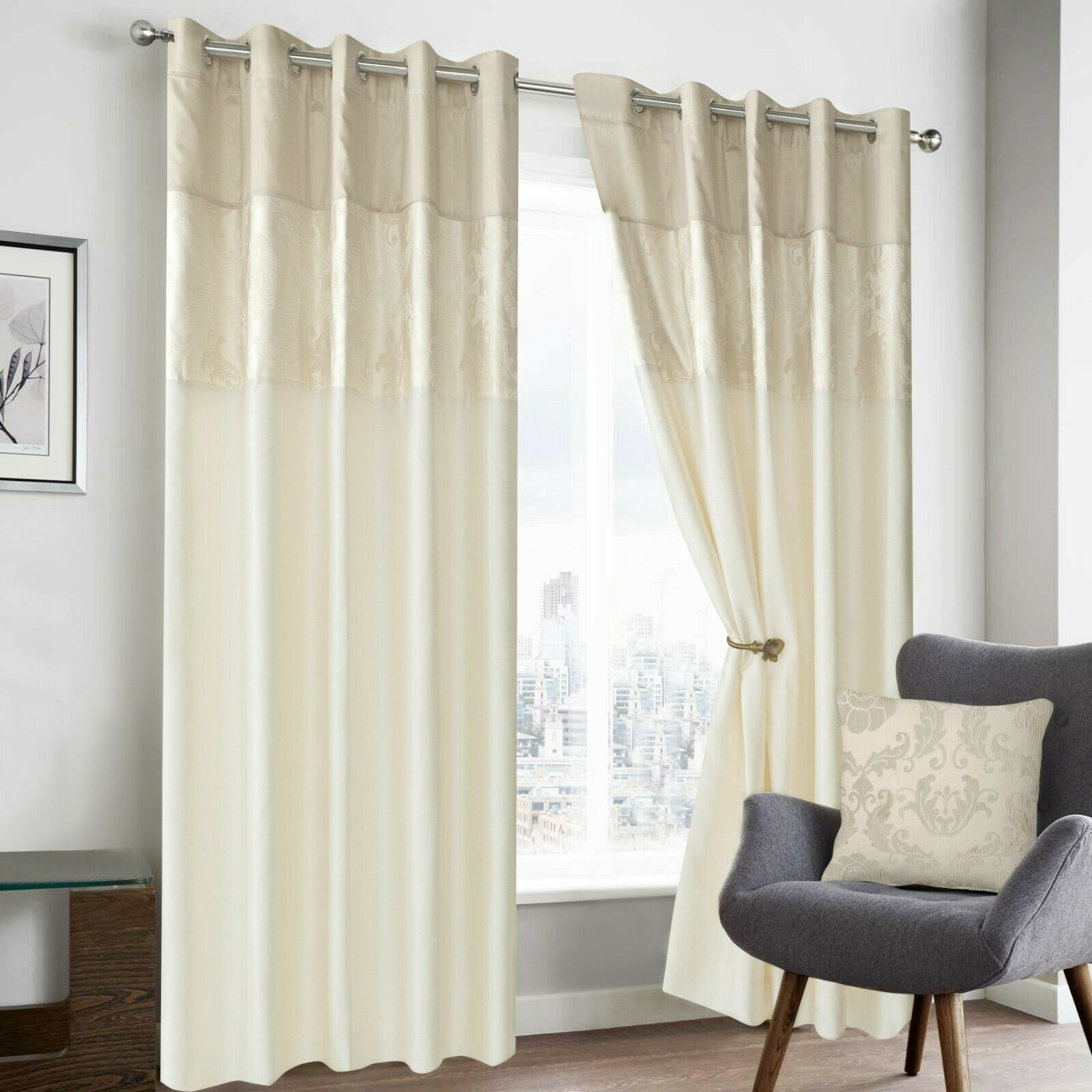 Cream beige colour modern floral damask ringtop eyelet Beige curtains