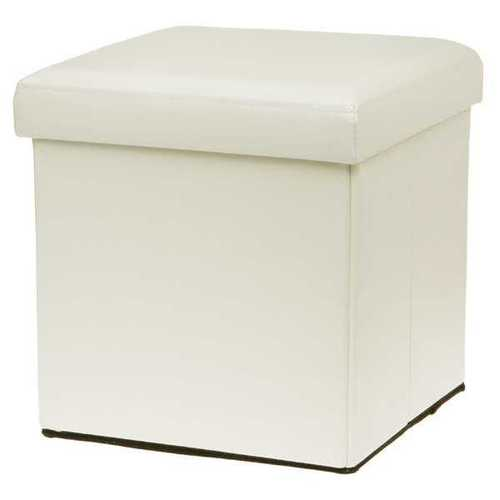 - CREAM COLOUR LEATHER FOLD FLAT OTTOMAN STORAGE BOX