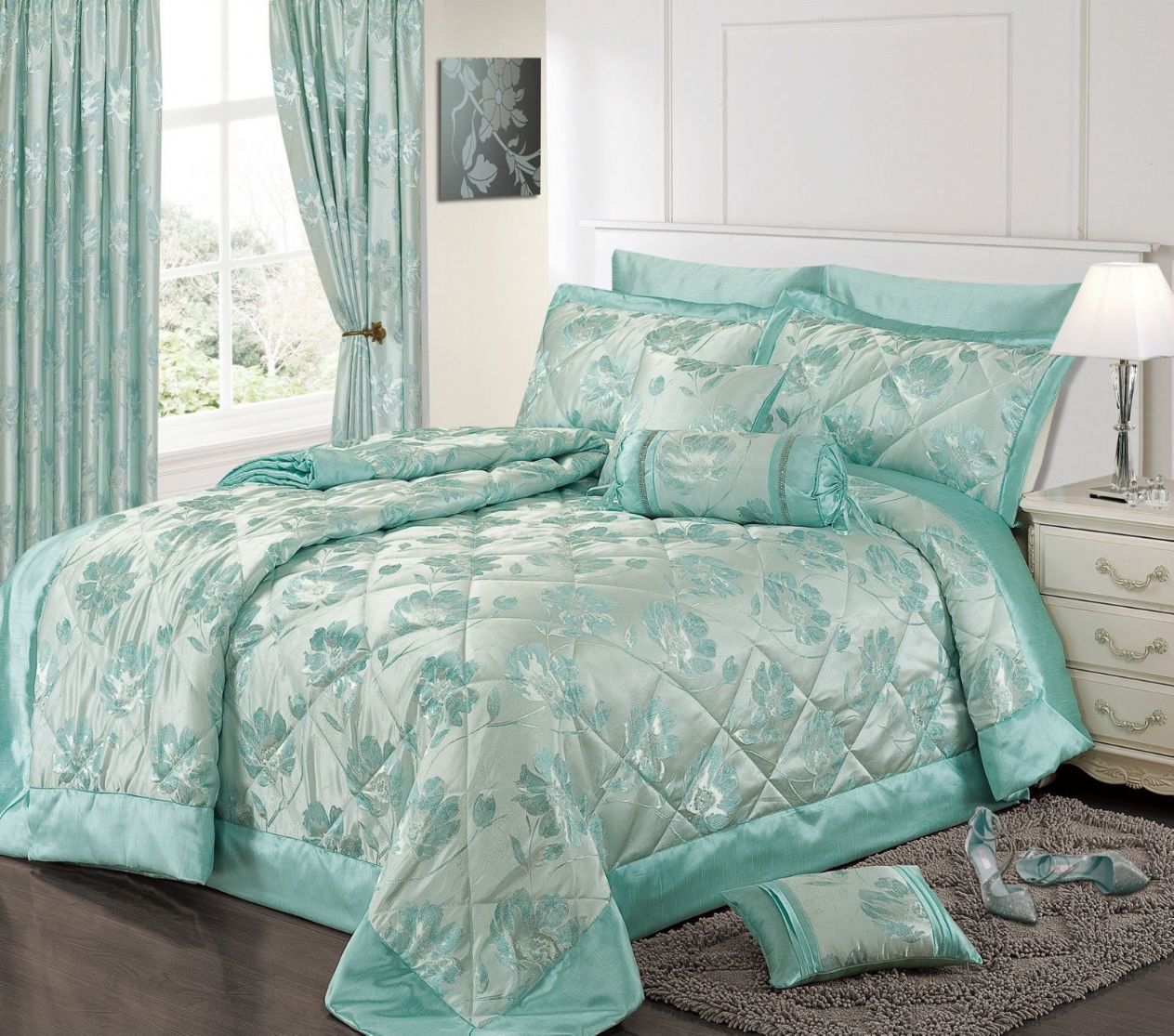 DUCK EGG BLUE COLOUR STYLISH FLORAL JACQUARD LUXURY  : duck egg blue colour stylish floral jacquard luxury embellished quilted bedspread set 8844 p from www.fabuloushomefurnishings.co.uk size 1263 x 1115 jpeg 258kB