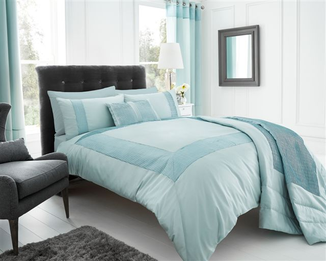 Duck Egg Blue Stylish Textured Faux Silk Duvet Cover