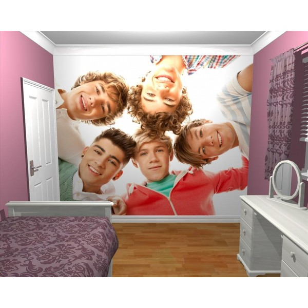 GIANT WALLPAPER WALL MURAL 1D ONE DIRECTION KIDS BEDROOM THEMED DESIGN .