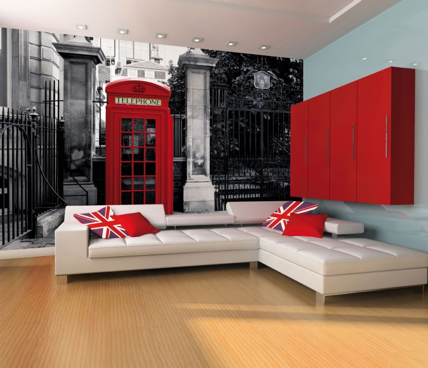 Giant wallpaper wall mural london telephone box vintage for Wallpaper home decor uk