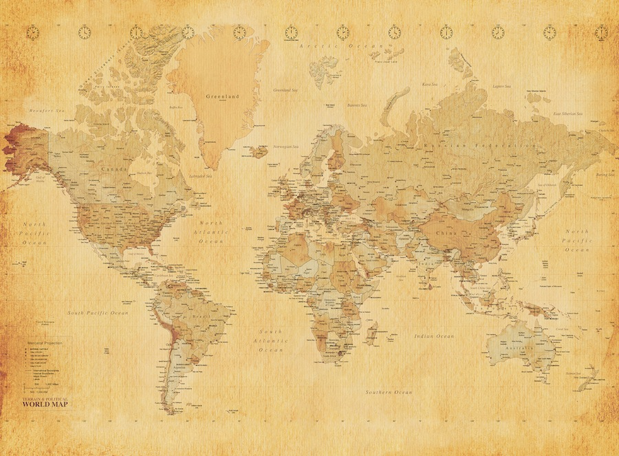 Giant wallpaper wall mural old vintage world map theme design for Antique world map wallpaper mural