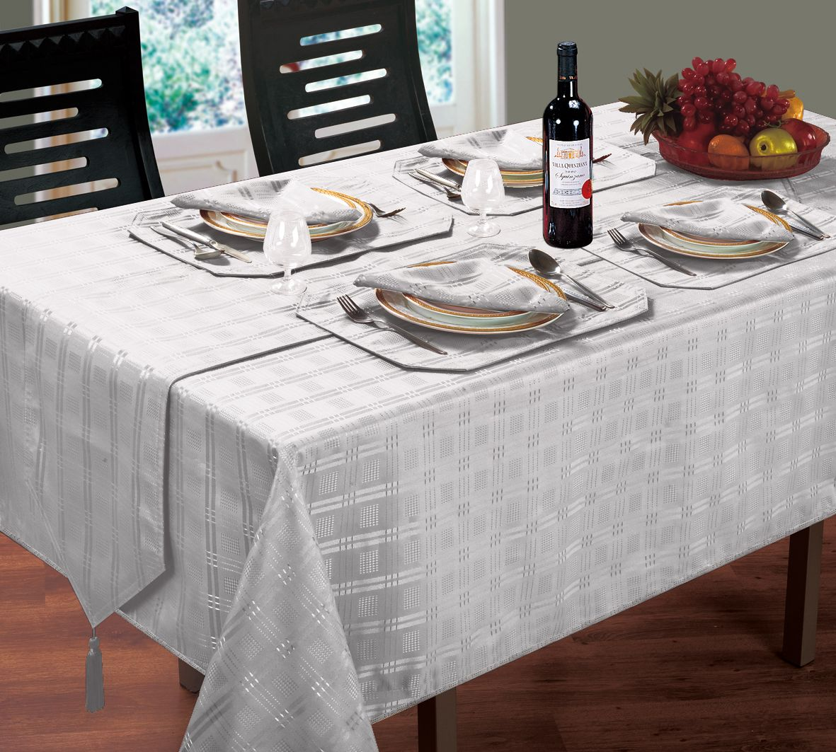 Jacquard Dining Tablecloths Round Oblong Square Silver