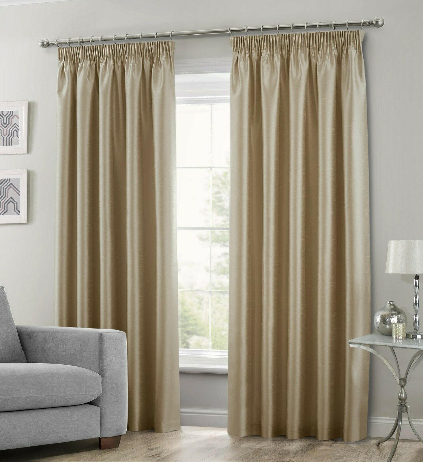 LATTE BEIGE COLOUR STYLISH FAUX SILK FULLY LINED PAIR OF CURTAINS