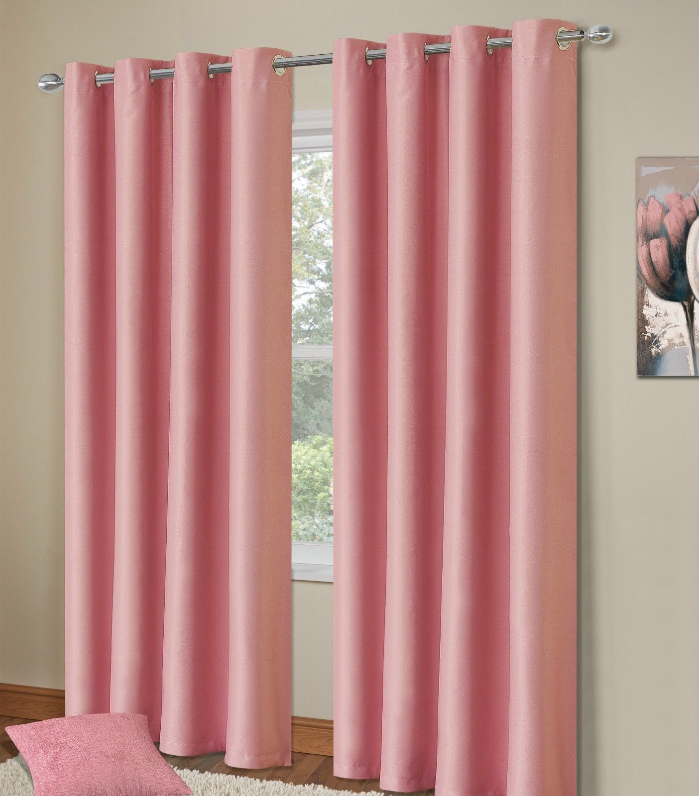Wonderful PLAIN BABY PINK COLOUR THERMAL BLACKOUT BEDROOM LIVINGROOM READYMADE  CURTAINS RINGTOP EYELETS Part 23