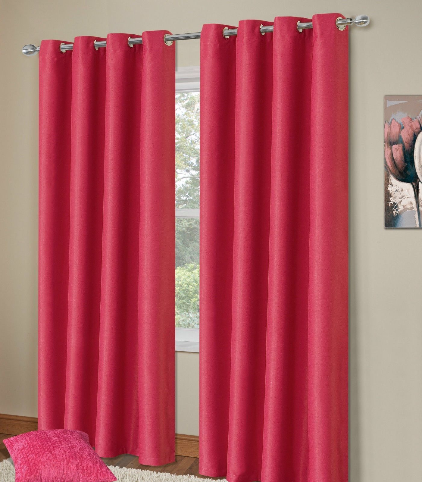 Plain Fuschia Pink Colour Thermal Blackout Bedroom