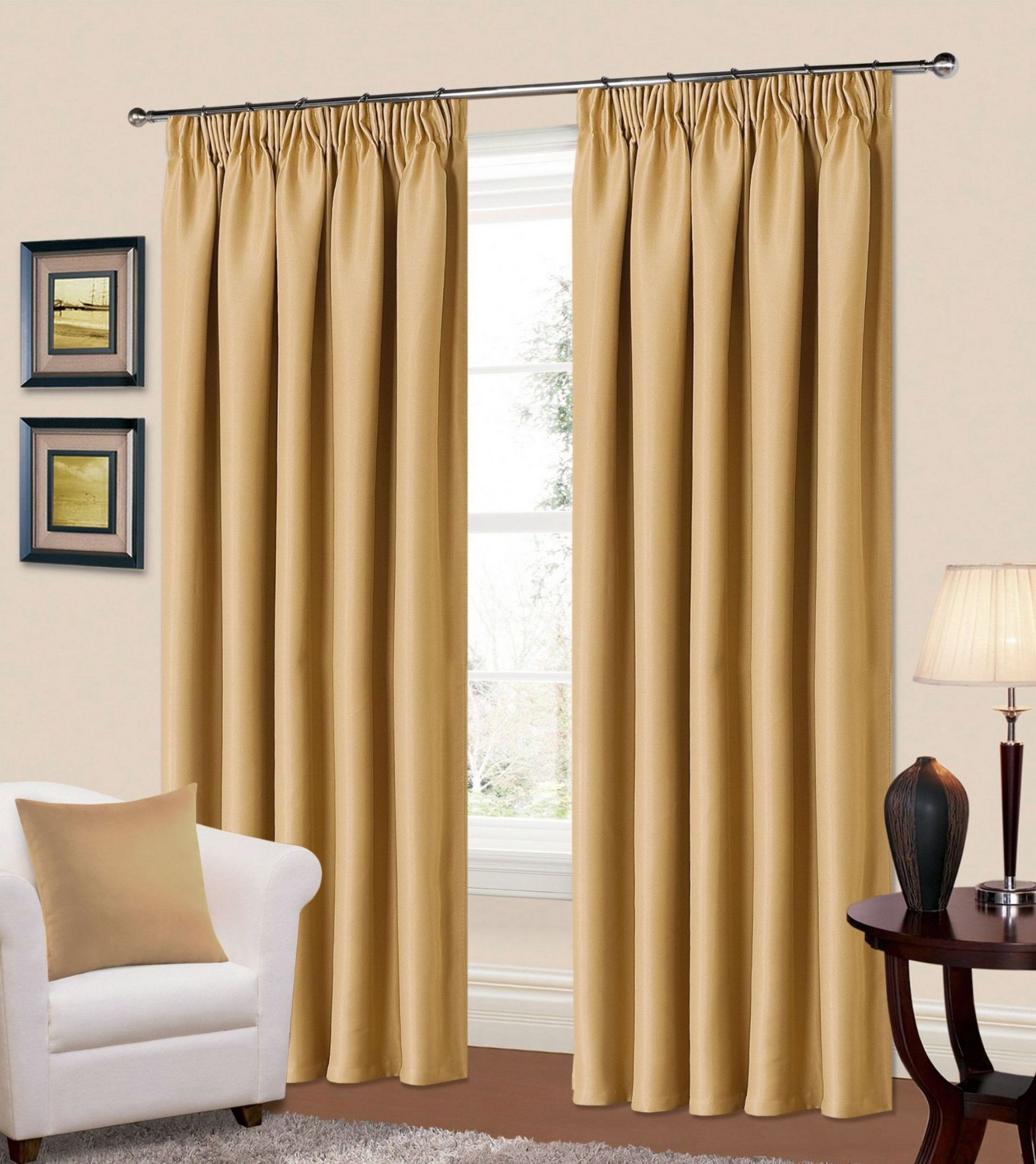 Plain stone beige colour thermal blackout readymade Beige curtains