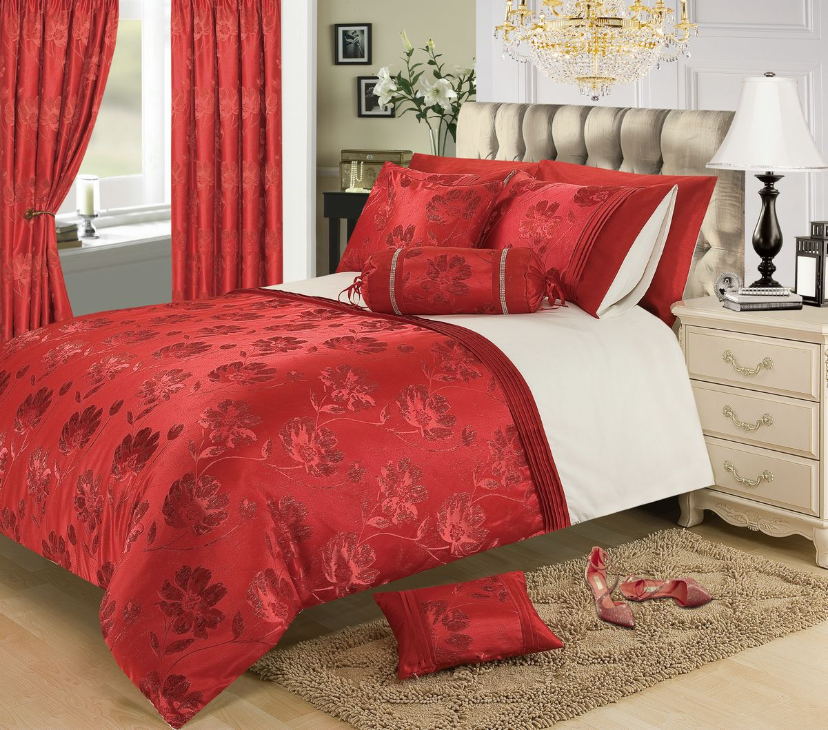 Red Burgundy Colour Stylish Floral Jacquard Duvet Cover