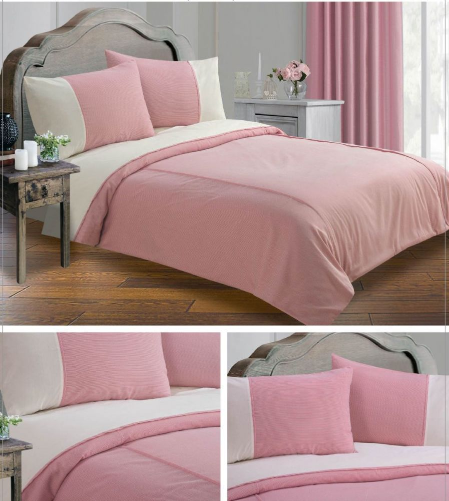 Red colour minimalist striped design duvet quilt cover set for Minimalist bed sheets