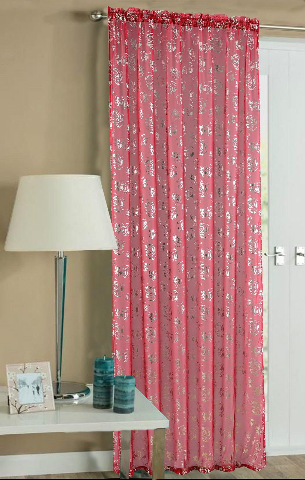 Red Colour Slot Top Ready Made Stylish Floral Design Light