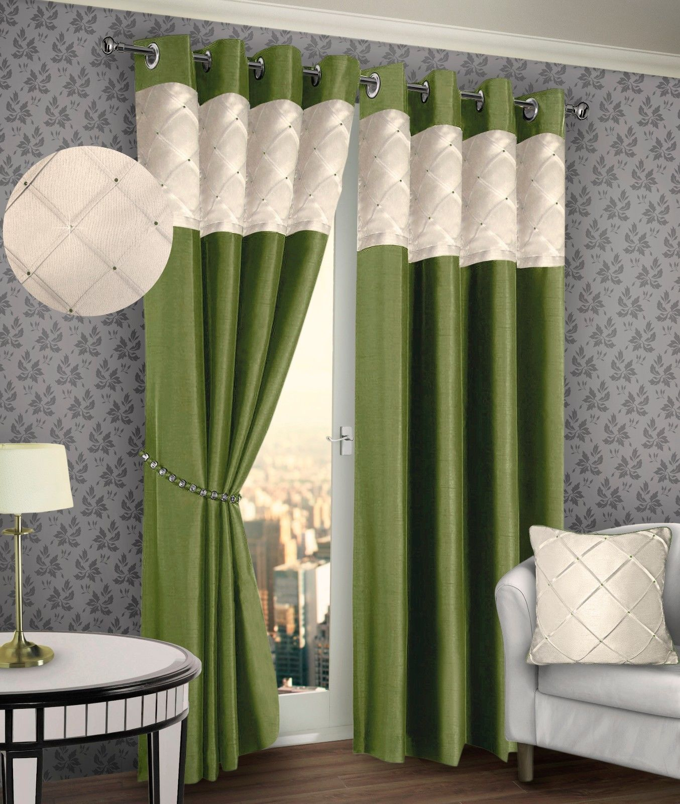 Ringtop eyelet lined pintuck curtain faux silk lime green amp cream