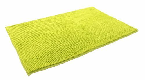 Shaggy Pile Luxury Bathmat Non Slip Plain Lime Green Colour