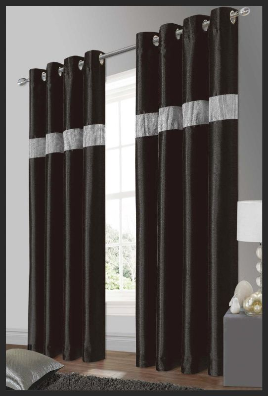 Stylish Elegant Diamante Faux Silk Ringtop Eyelet Fully Lined Curtains Black Silver Colour