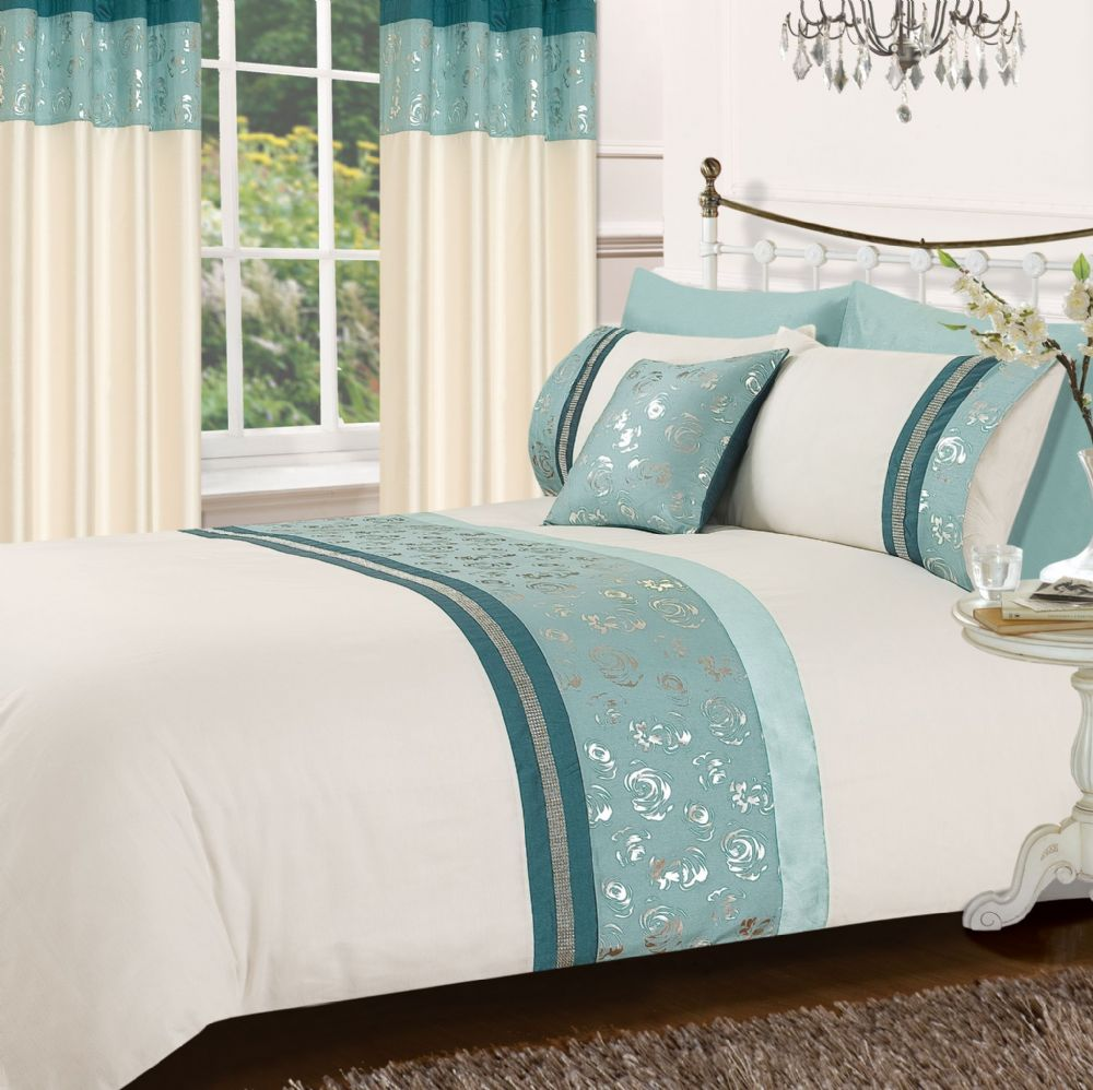 Teal Amp Cream Colour Stylish Matallic Floral Diamante Duvet