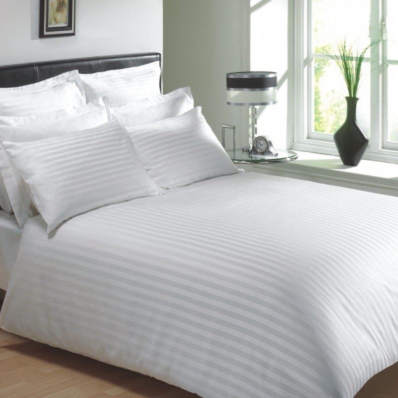 Wonderful Luxury White Bed Linen Part - 2: WHITE COLOUR 250 THREAD COUNT COTTON LUXURY HOTEL STRIPE BEDDING U0026 BEDLINEN  RANGE