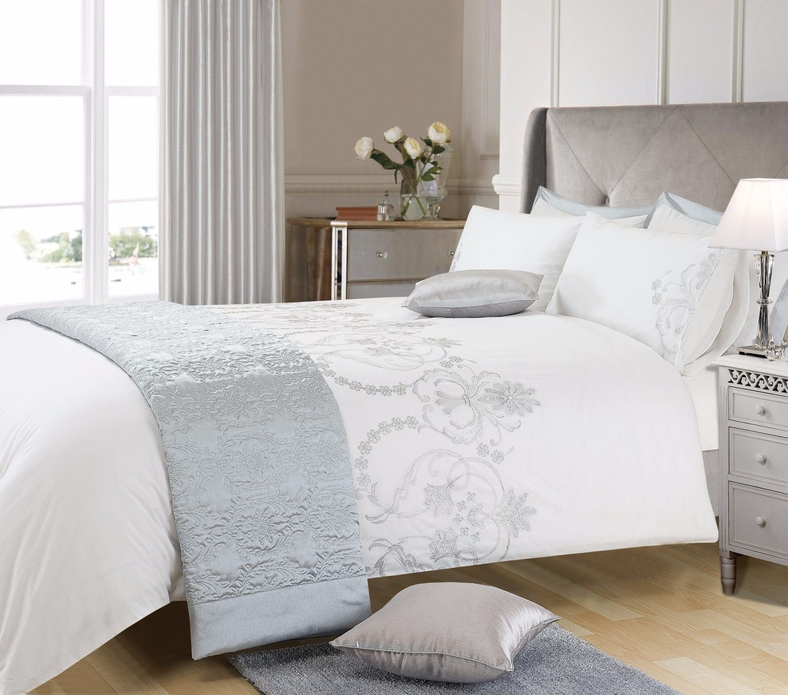White Grey Silver Colour Stylish Embroidered Duvet Cover