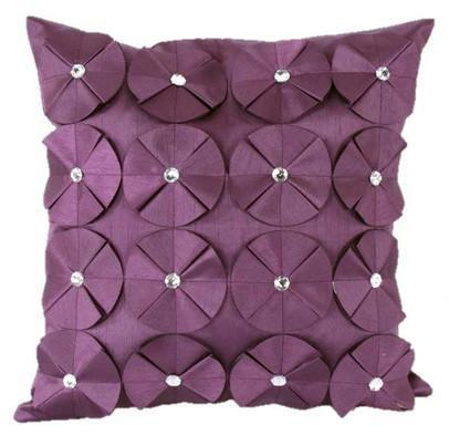 3D SHINY DIAMANTE CIRCLED RUFFLE DESIGNER CUSHION COVER AUBERGINE PLUM COLOUR