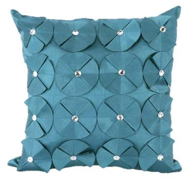 3D SHINY DIAMANTE CIRCLED RUFFLE DESIGNER CUSHION COVER TEAL BLUE COLOUR