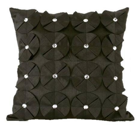 3D SHINY DIAMANTE CIRCLED RUFFLE DESIGNER FILLED CUSHION BLACK COLOUR LARGE SIZE