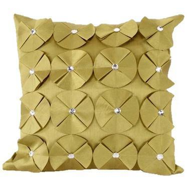 3D SHINY DIAMANTE CIRCLED RUFFLE DESIGNER FILLED CUSHION COVER LIME GREEN COLOUR
