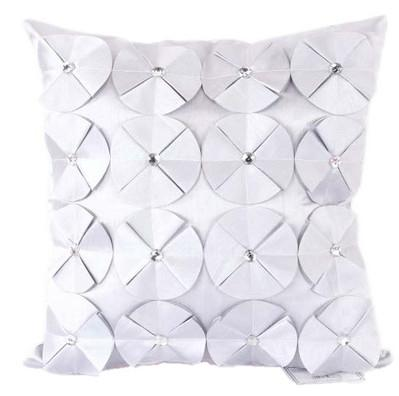 3D SHINY DIAMANTE CIRCLED RUFFLE DESIGNER FILLED CUSHION SILVER COLOUR LARGE SIZE