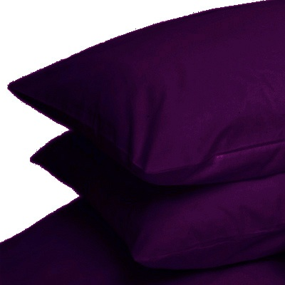 AUBERGINE PURPLE COLOUR PERCALE HOUSEWIFE PAIR OF PILLOWCASES