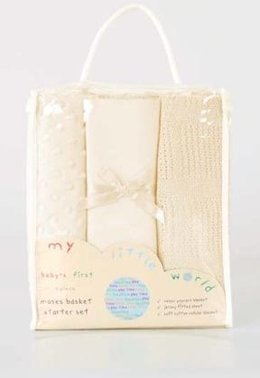 BABY'S FIRST MOSES BASKET 3pc CREAM NURSERY BEDDING STARTER GIFT SET