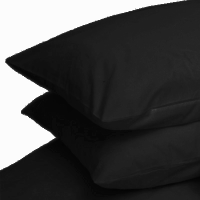BLACK COLOUR PERCALE HOUSEWIFE PAIR OF PILLOWCASES