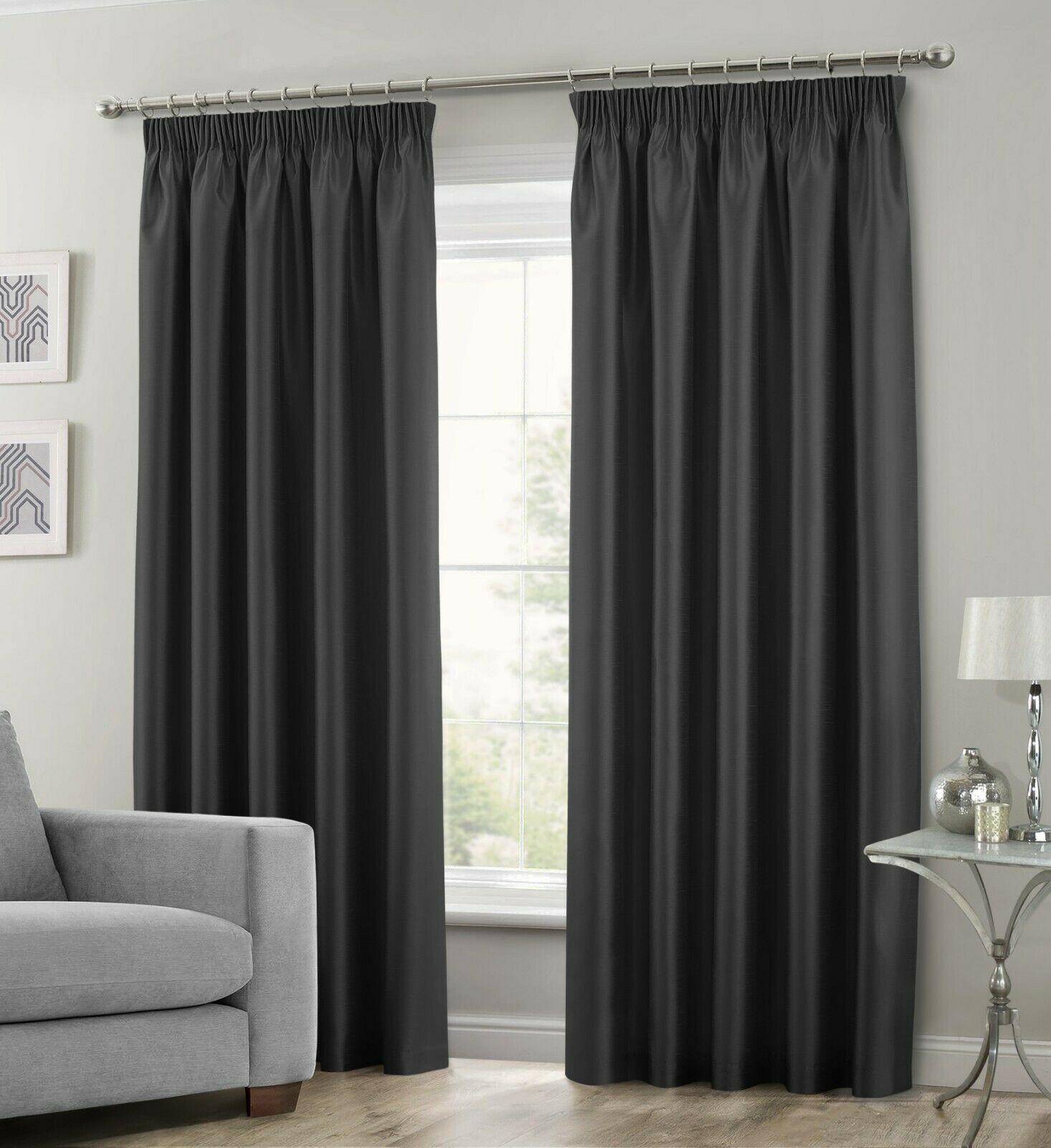 BLACK COLOUR STYLISH FAUX SILK FULLY LINED PAIR OF CURTAINS