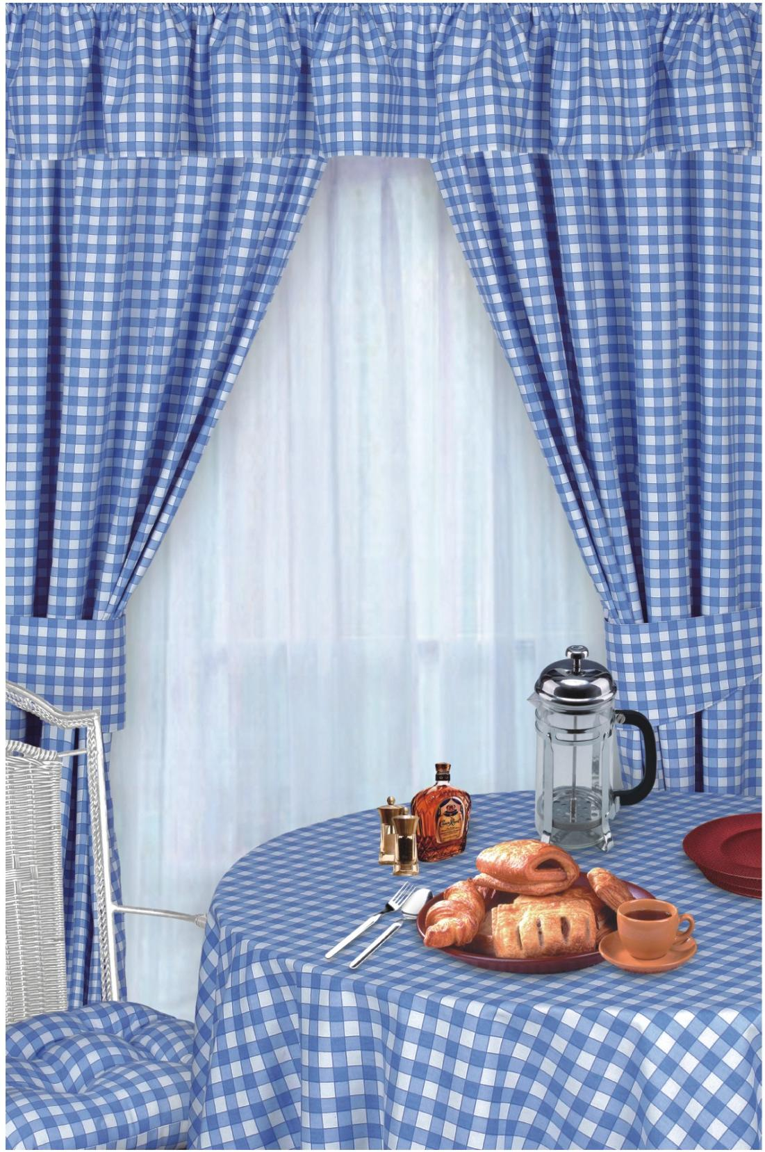 Blue Colour Check Kitchen Curtains