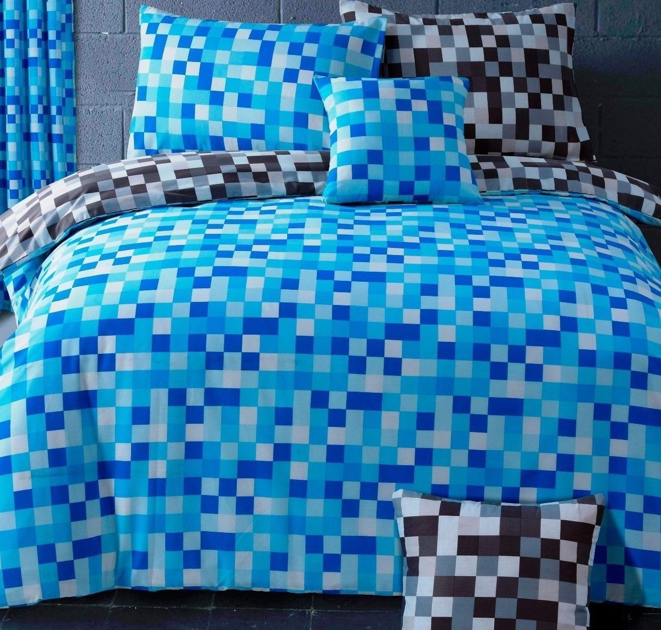 Blue Grey Square Pixel Check Trendy Teenage Reversible Bedding Duvet Quilt Cover Set