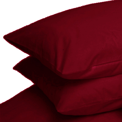 BURGUNDY COLOUR PERCALE HOUSEWIFE PAIR OF PILLOWCASES