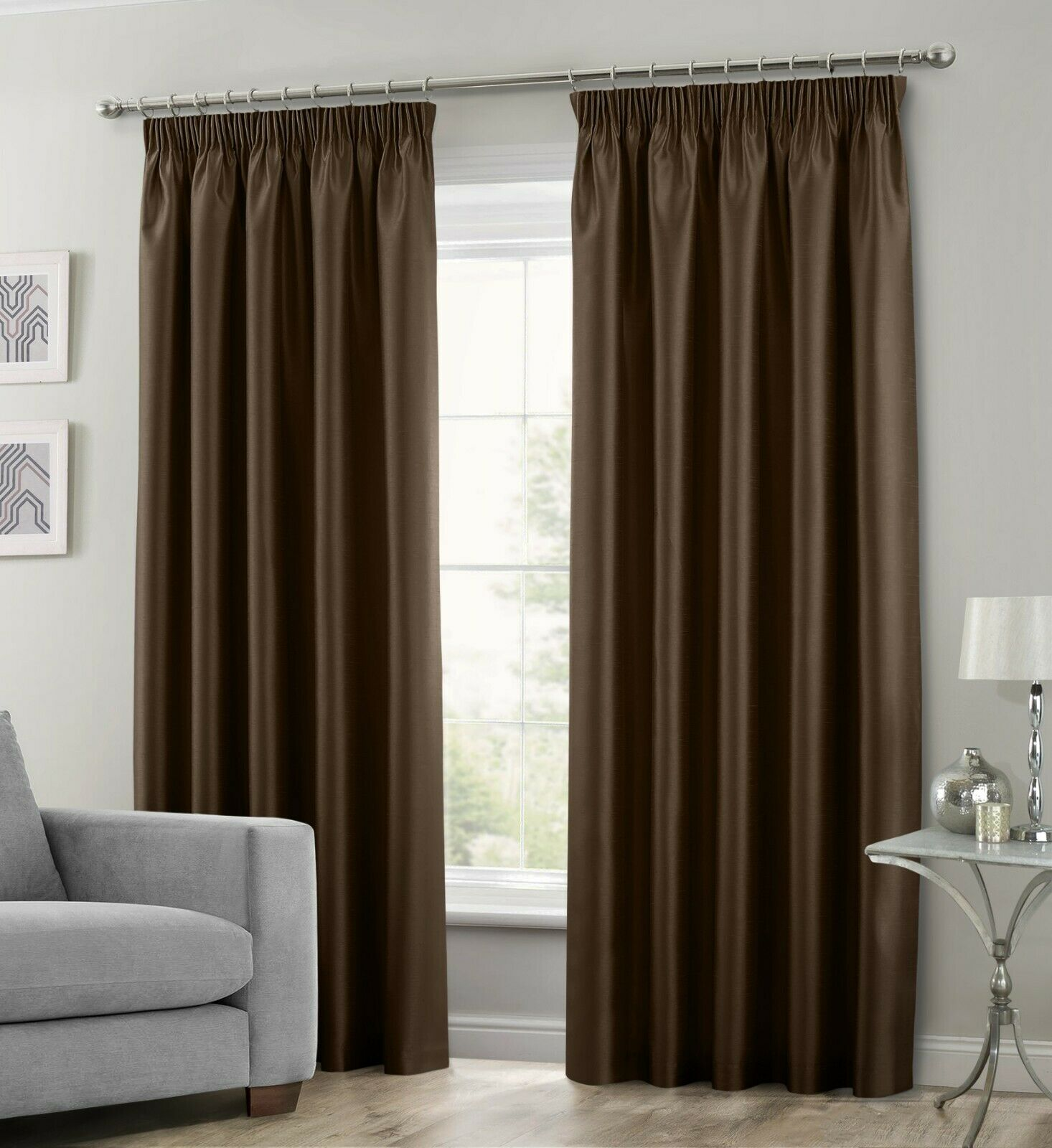 Chocolate Brown Colour Stylish Faux Silk Fully Lined Pair