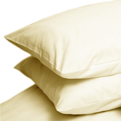 CREAM COLOUR PERCALE HOUSEWIFE PAIR OF PILLOWCASES