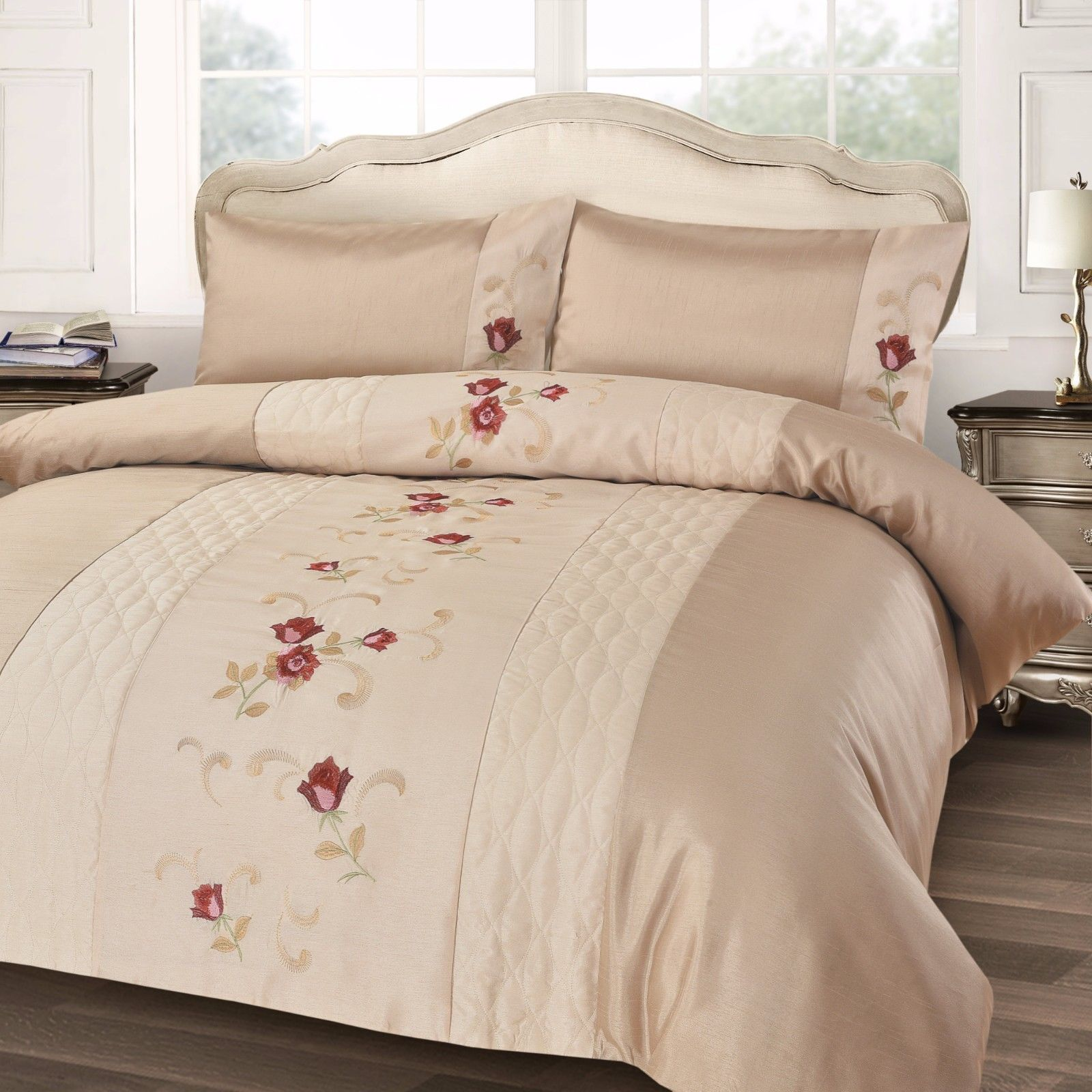 CREAM WINE STYLISH FLORAL EMBROIDERED DUVET COVER LUXURY BEAUTIFUL BEDDING