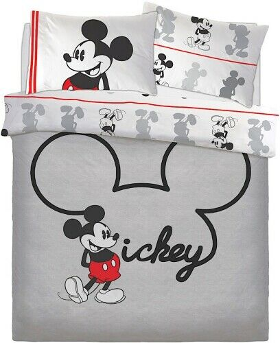Double Bed Duvet Cover Set Disney Mickey Mouse Jersey Reversible Grey Black