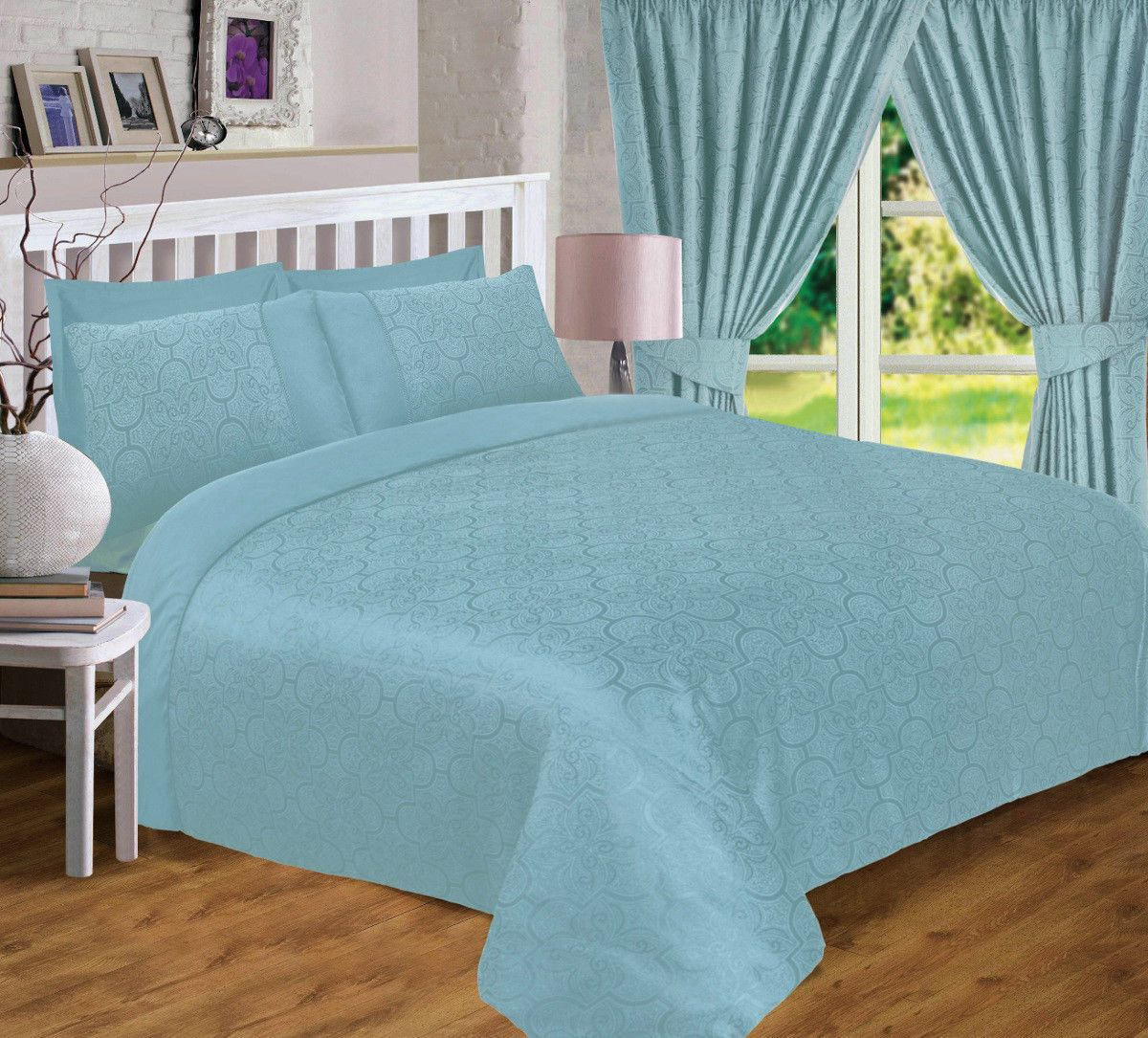 Duck Egg Blue Jacquard Scroll Floral Duvet Quilt Cover Luxury Bedding Or Curtains