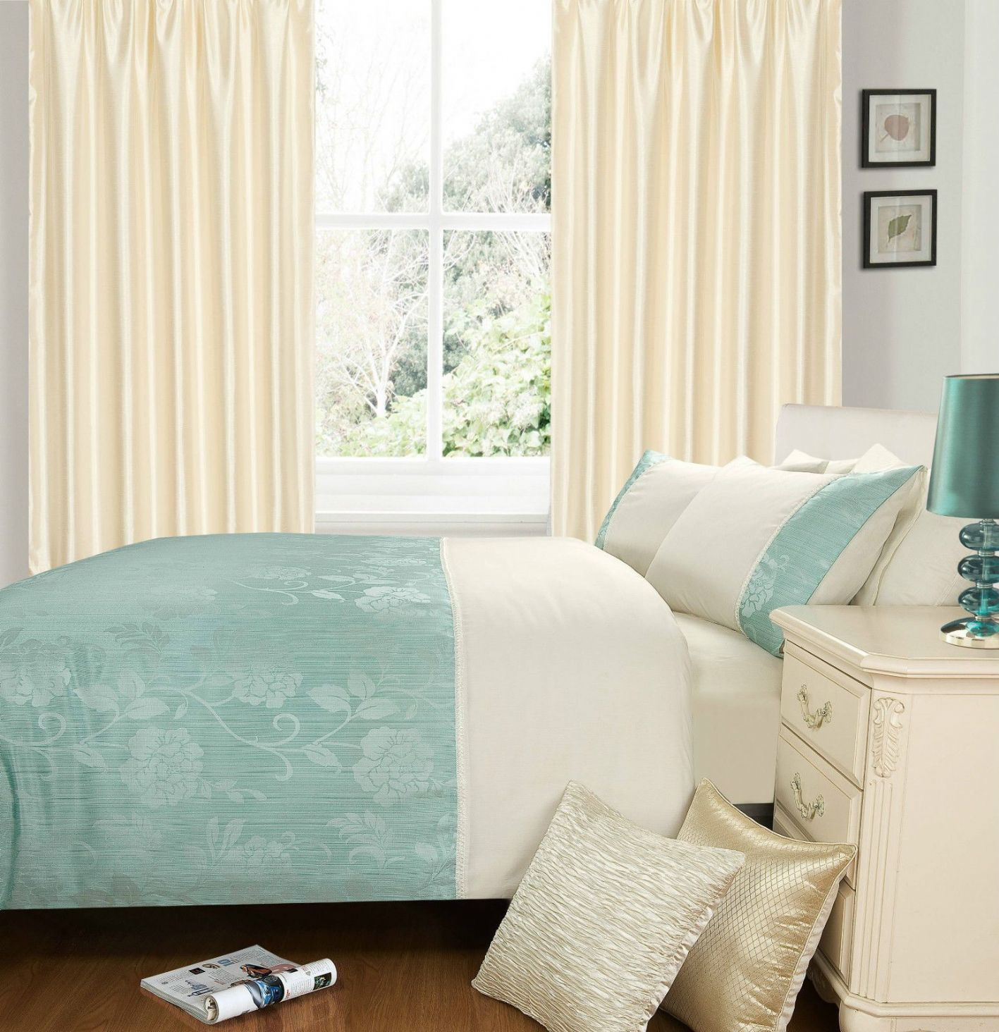 Make A Single Bedroom Special With A Super Stylish: DUCK EGG & CREAM COLOUR STYLISH DUVET COVER LUXURY