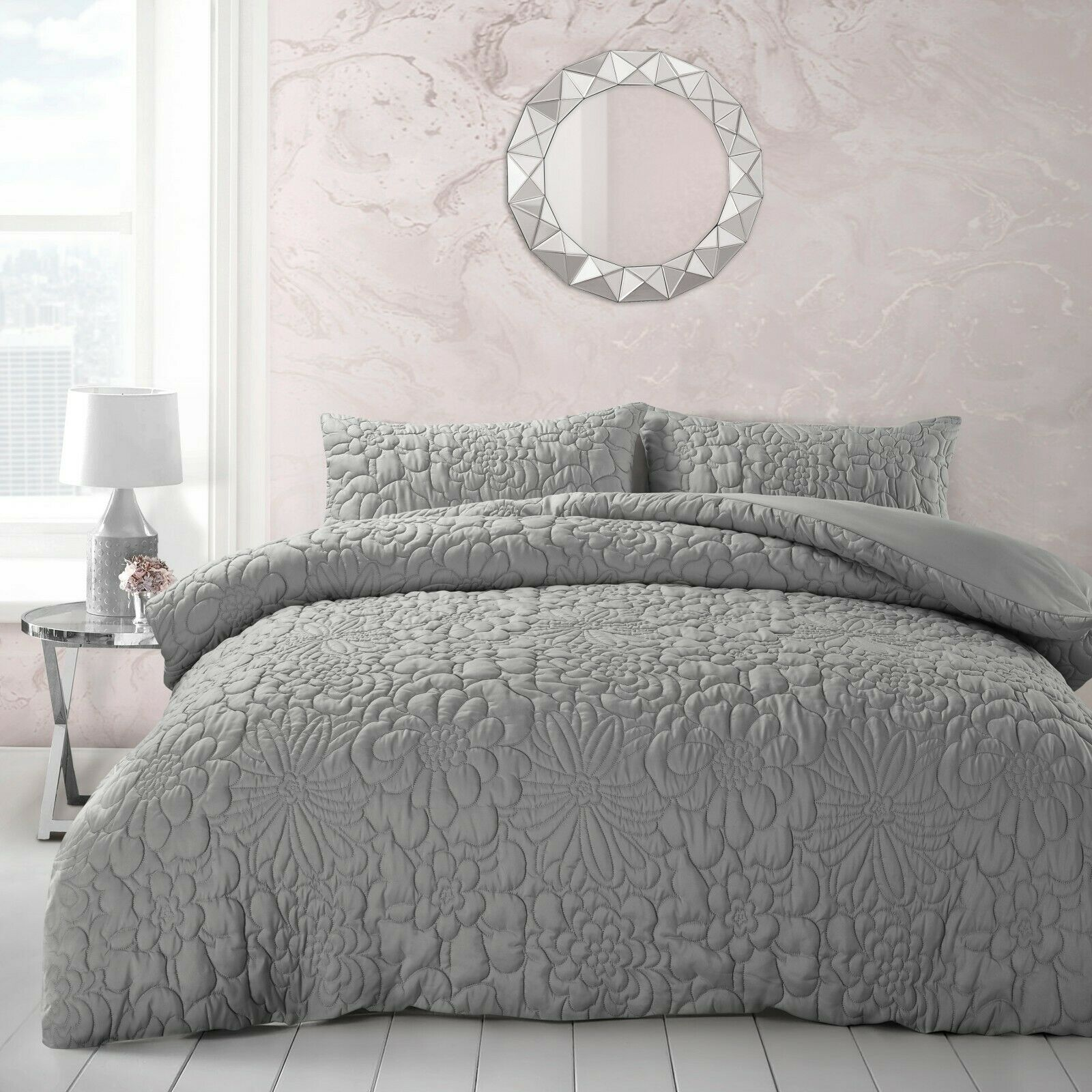 Embossed Luxury Floral Pinsonic Quilted Bedding Duvet Cover And Pillowcases Set Grey