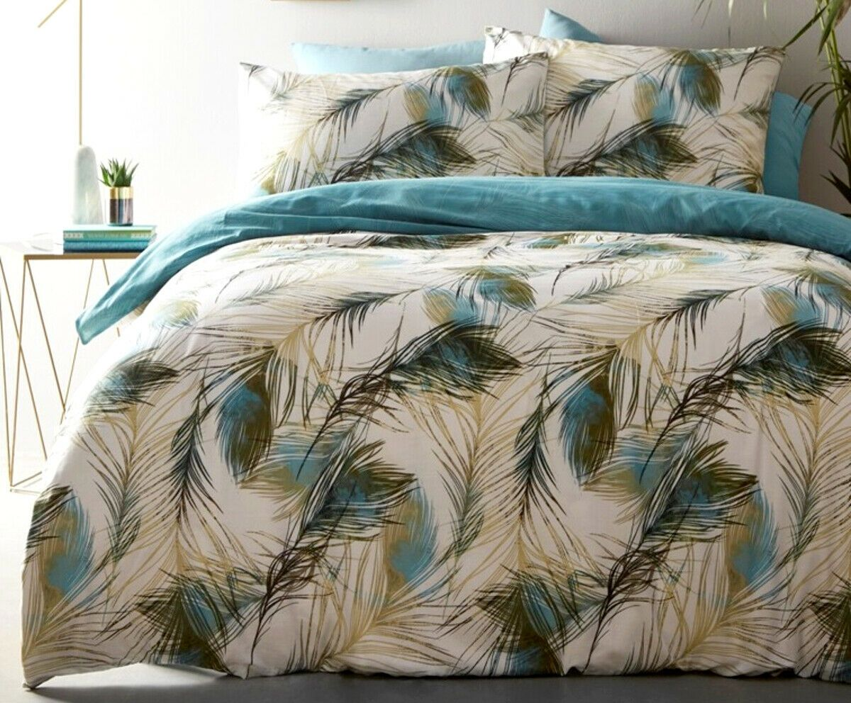 Feather Peacock Leaf Teal Blue Turquoise Bedding Duvet