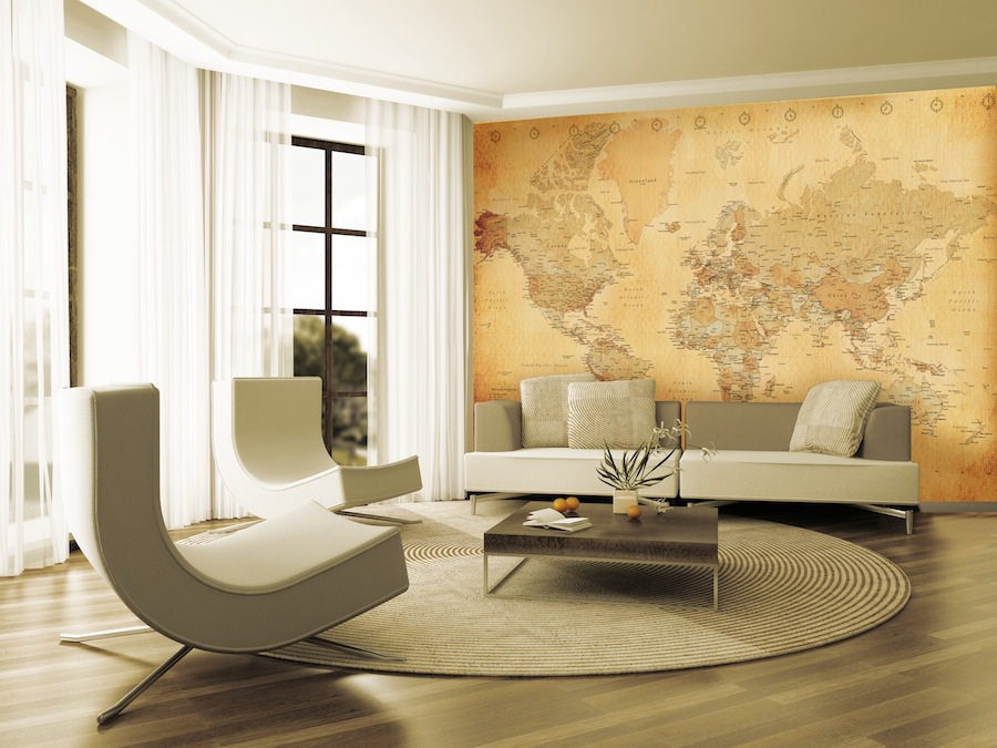 GIANT WALLPAPER WALL MURAL OLD VINTAGE WORLD MAP THEME DESIGN