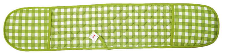 Green Colour Check Double Oven Glove Quilted 100 Cotton