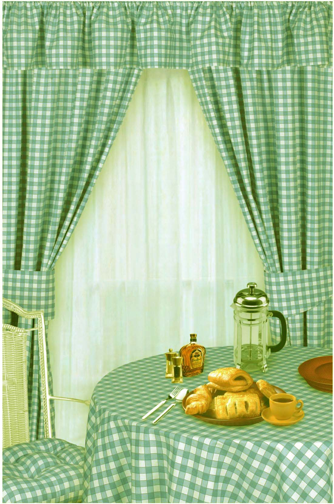 GREEN COLOUR CHECK KITCHEN CURTAINS
