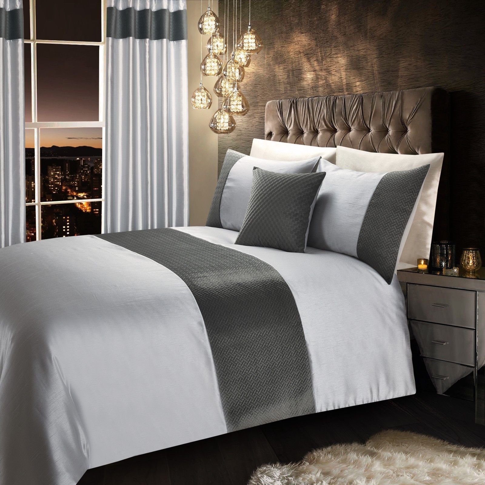 Grey Silver Stylish Quilted Velvet Luxury Duvet Cover Beautiful Modern Bedding